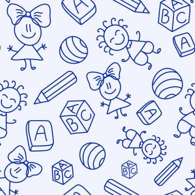 Hand drawn seamless pattern with kids