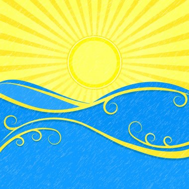 Background with Sea Wave sand Yellow Sun