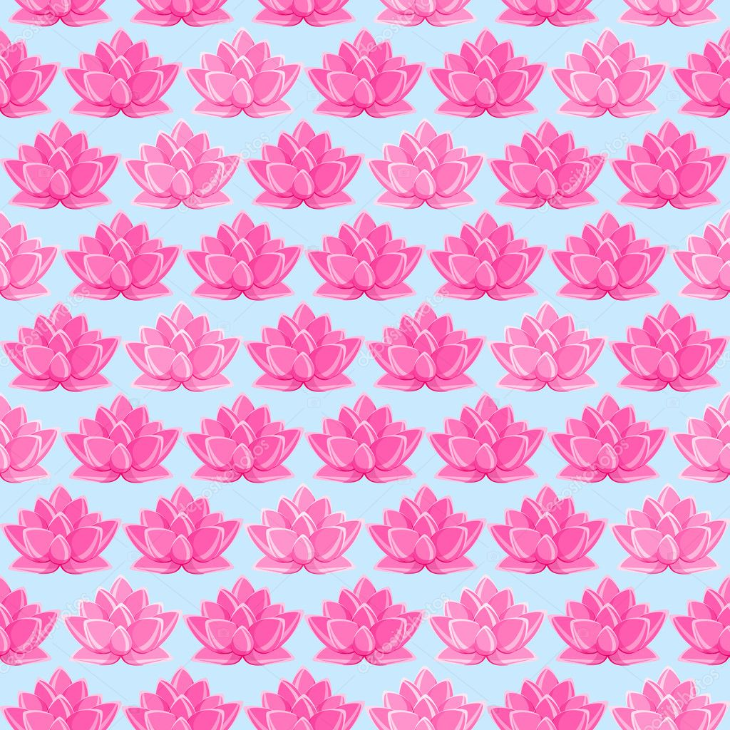 Pink Lotus Flower Seamless Pattern