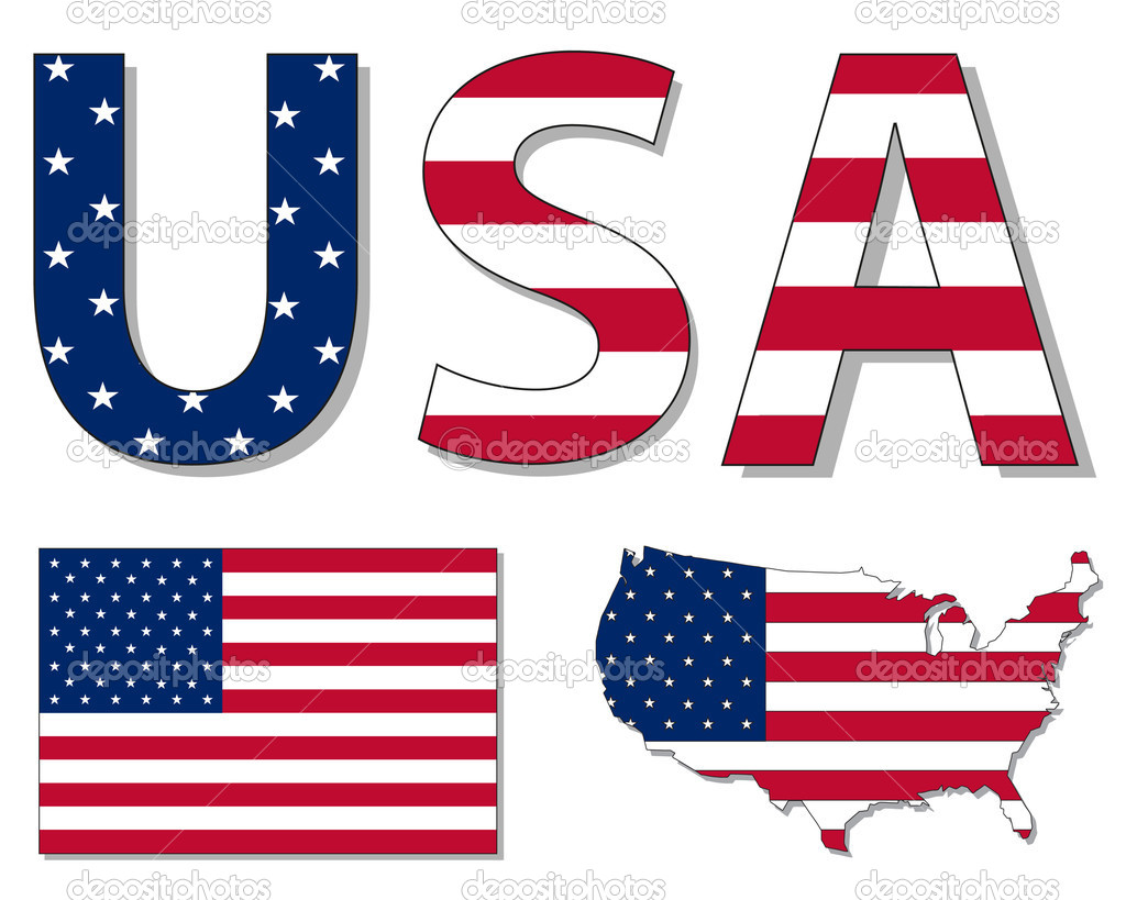 usa flag and map stock vector