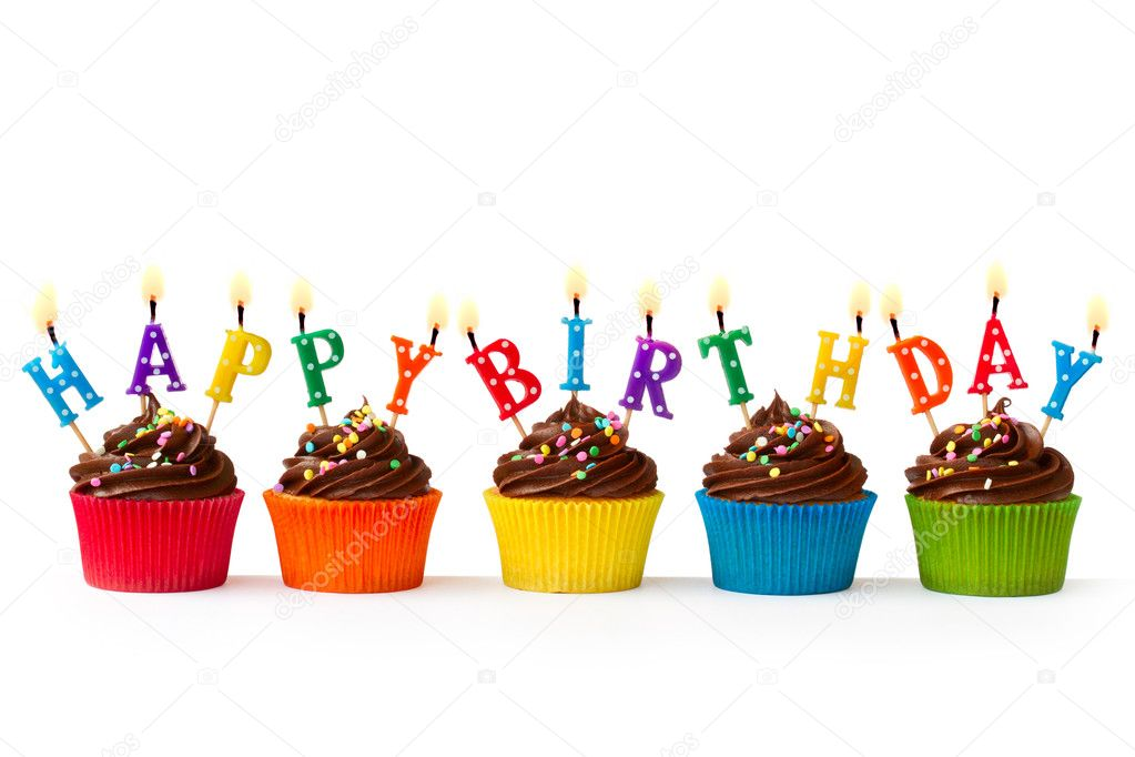 Colorful Happy Birthday Cupcakes With Candles Pics Stock Photos All