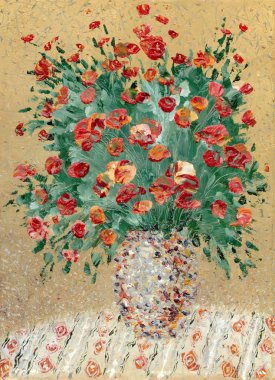 Painting by oil. A still life from red flowers