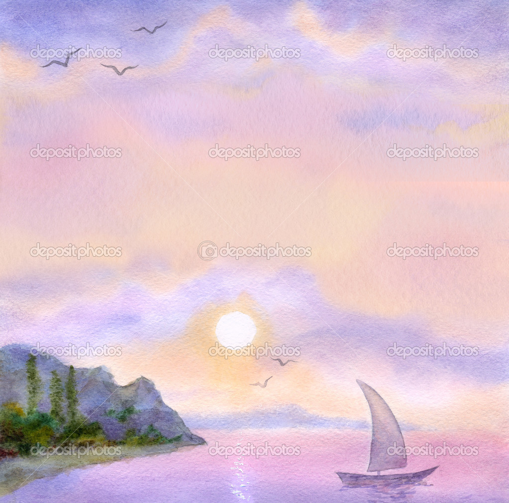 Watercolor background with sea view
