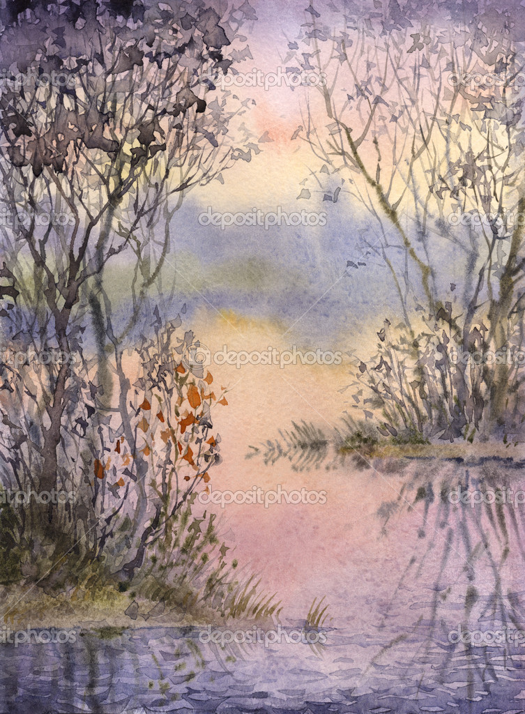 Watercolor landscape. Thickets on the islets of a quiet lake