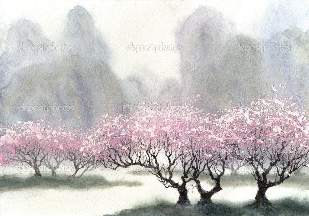 Watercolor landscape. Delicate flowering trees at spring day