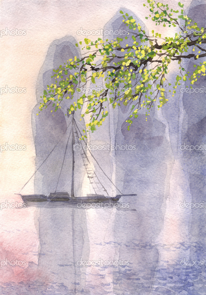 Watercolor landscape. Old castle in a quiet sea in the morning