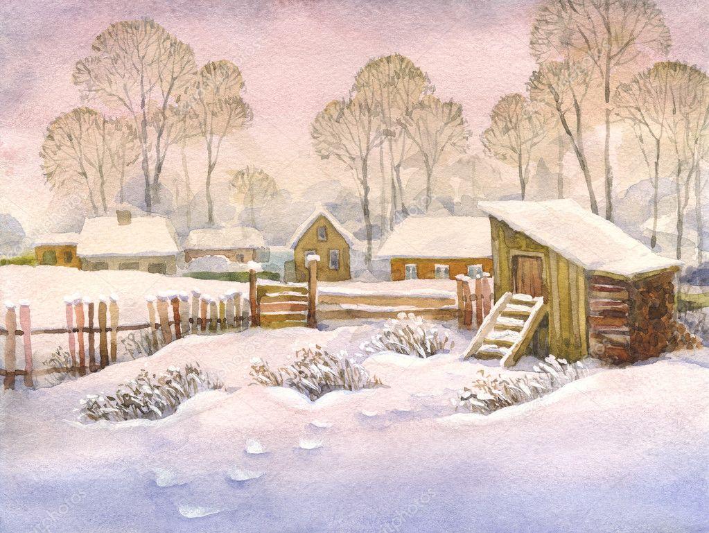 Watercolor landscape of old winter village