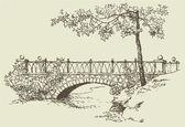 Krajina náčrt kamenný most
