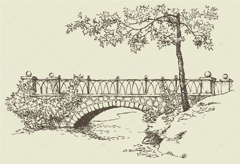 Landscape sketch of stone bridge