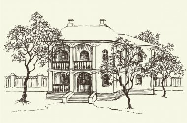 Vector landscape. Sketch drawing of the old house among the orchard stock vector