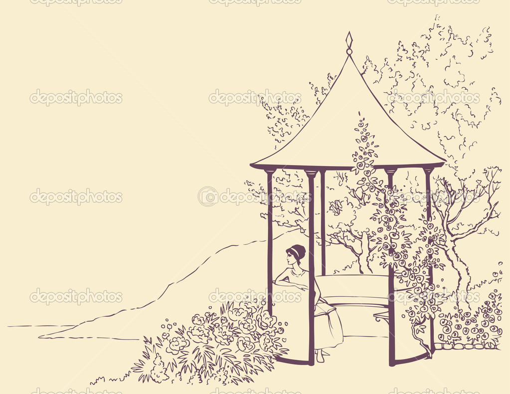 Vector image. A young girl rests in a cozy arbor