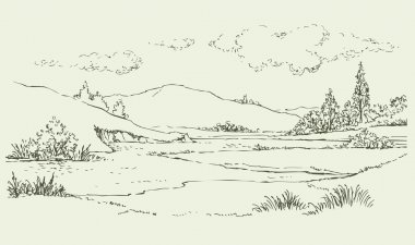 Summer landscape with a river