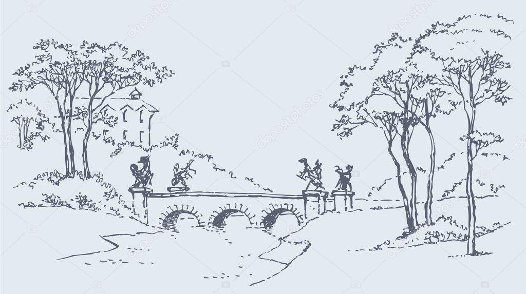 Palace park landscape with a bridge