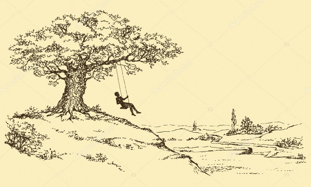Vector Sketch. Resting man riding on a swing
