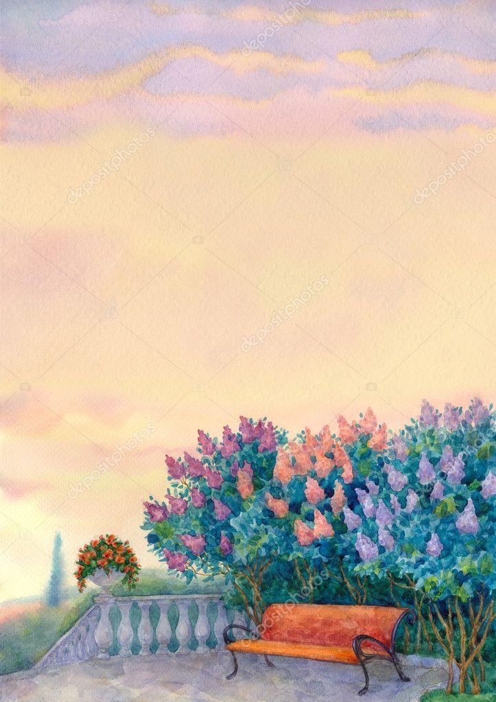Watercolor romantic background