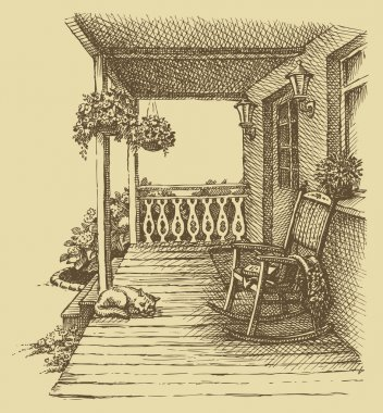 Ink drawing comfortable rocking chairs on the veranda