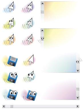 Cartoon vector characters animated arrows, floppy and scroll bar