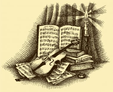 Vector vignette of a violin, books, candlestick and pages with n