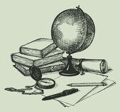 vektorové zátiší předmětů geografie