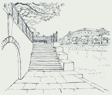 Vector cityscape. An old stone quay. Steps to the alley