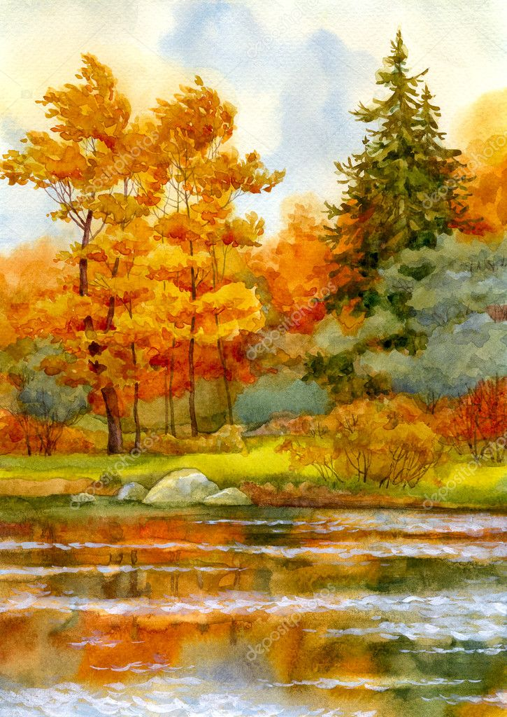 Autumnal forest on the lake