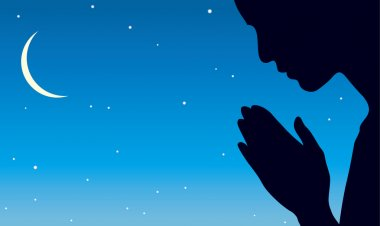 Vector image of the praying person at night