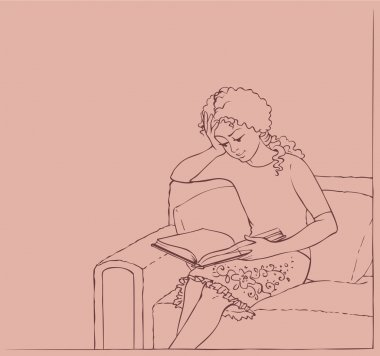 Vector illustration. Girl in a chair reading a book
