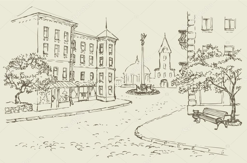 Vector architectural landscape. Old street of the city center