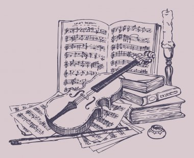 Vector still life. Violin with books, notes and candlestick