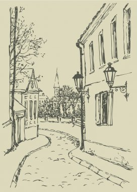 Vector landscape. The narrow streets of old town