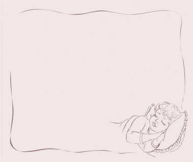 Vector drawing. Baby sleep in bed