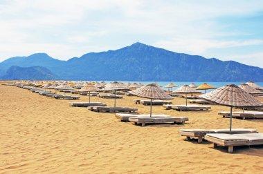 Sun loungers on a famous Iztuzu beach in Turkey