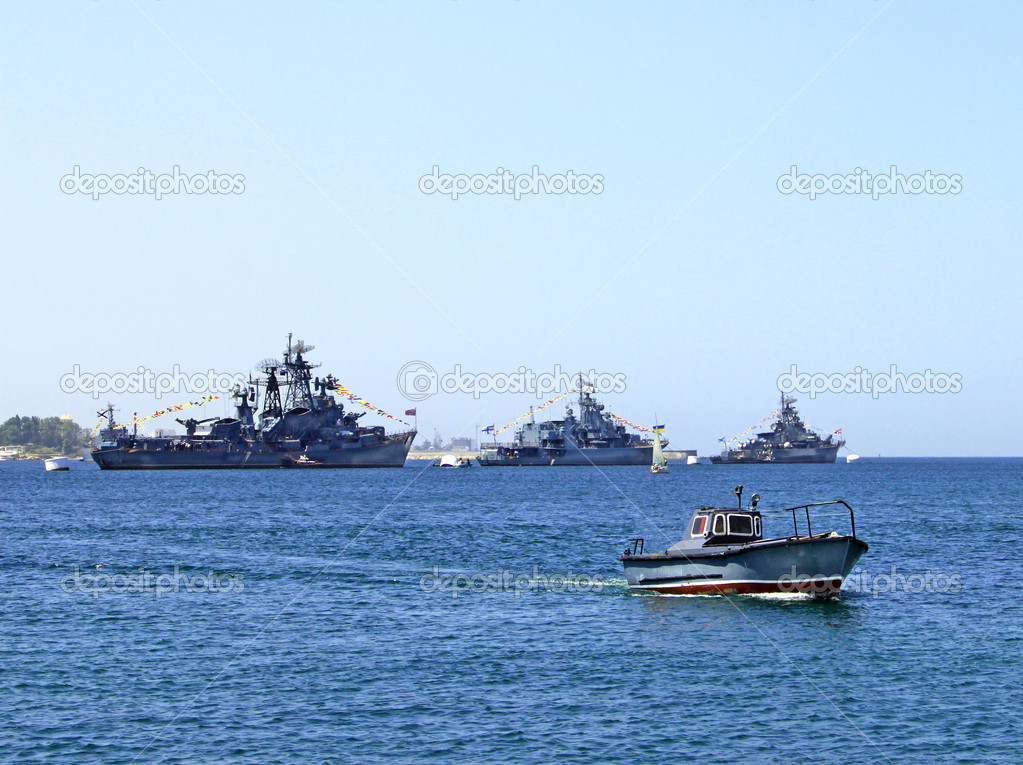 Russian warships and boat