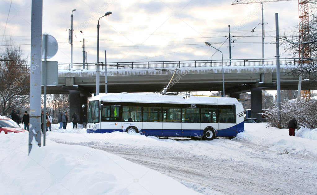 Traffic accident with trolleybus on slippery road