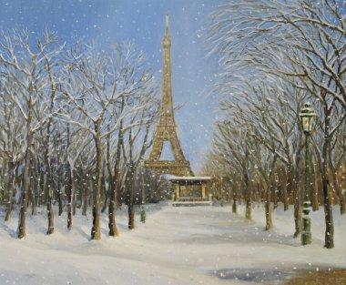 """Картина, постер, плакат, фотообои """"Зима в Париже"""", артикул 8368382"""