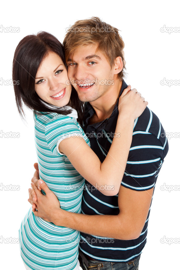 Young happy couple love smiling
