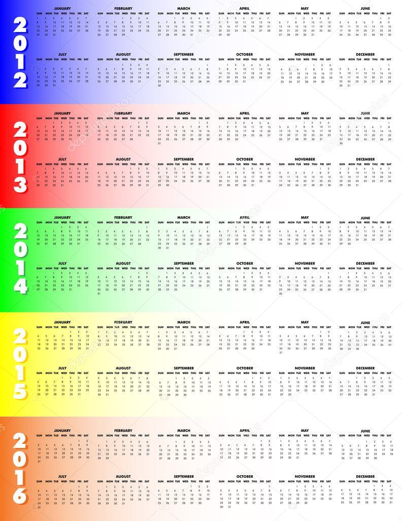 Five Year Calendar 2012 2016 Sunday Start Stock Vector