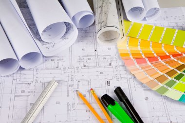 Architectural drawings, office tools