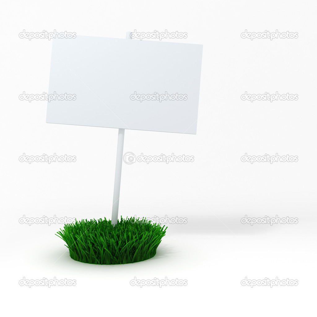 3d blank board on a patch of green fresh grass