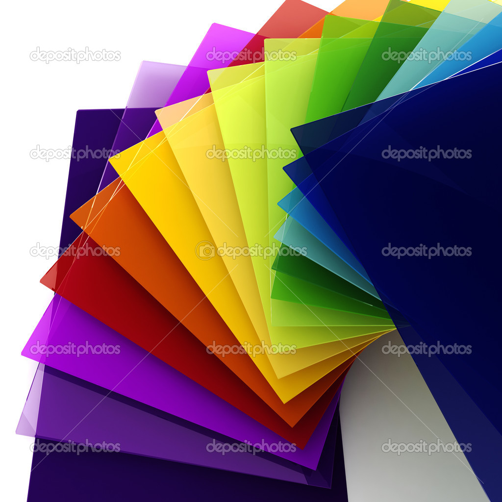 3d colorful sheets of transparent plastic — Stock Photo ...