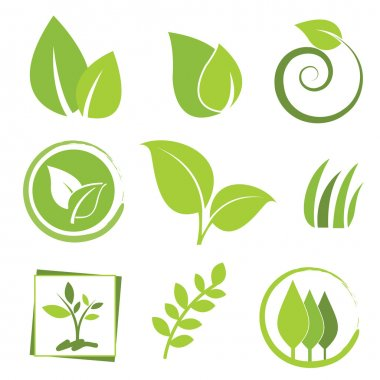 Set of green eco icon stock vector