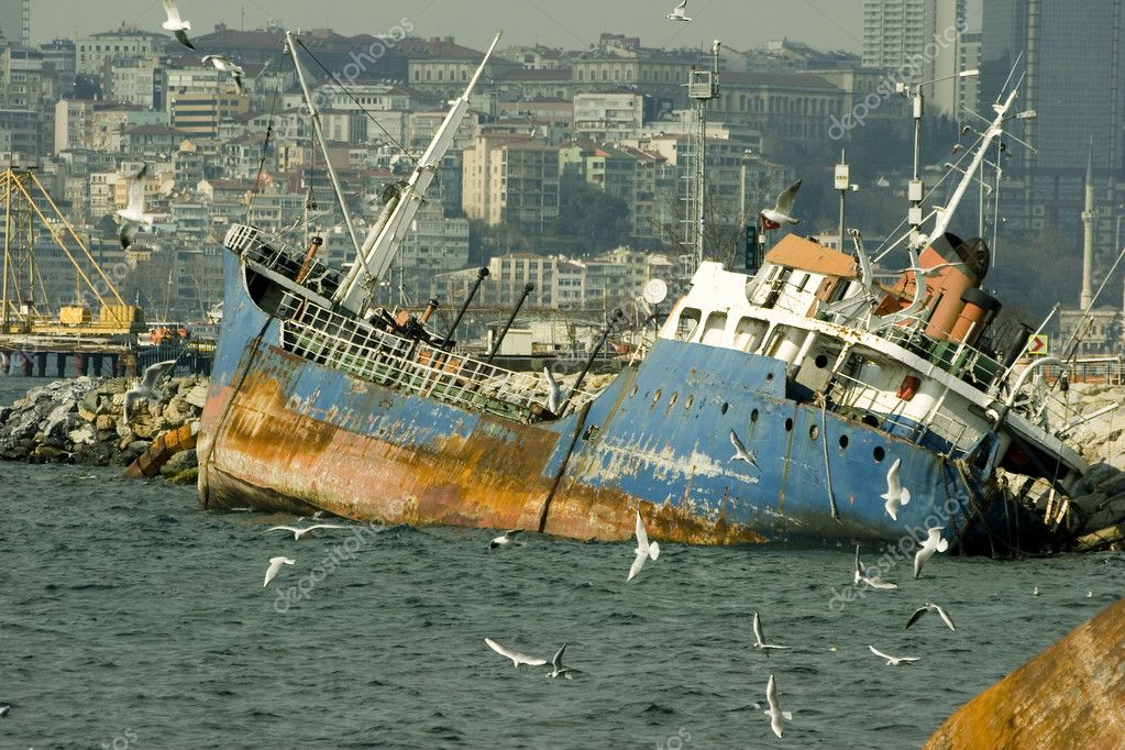 Wrecked ship in Istanbul