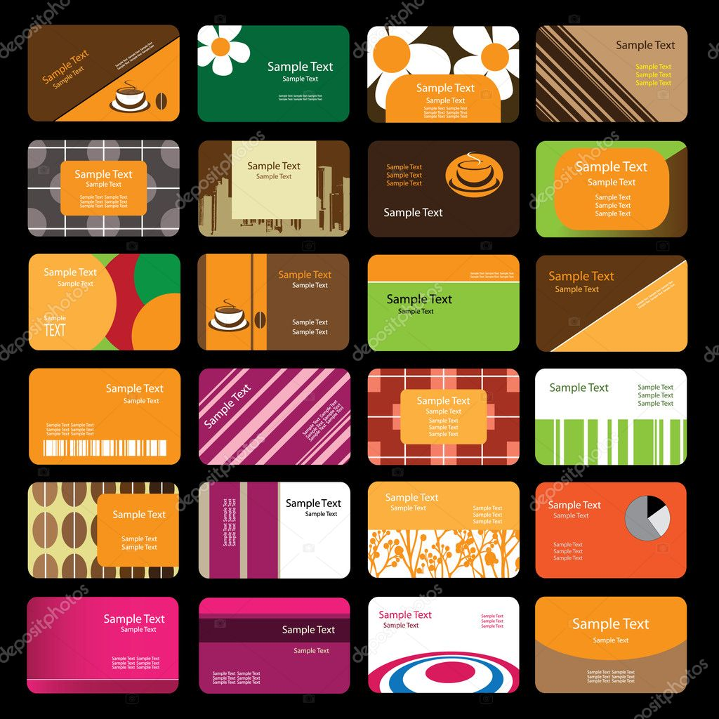 24 Colorful Business Cards — Stock Vector © bagotaj #8020247