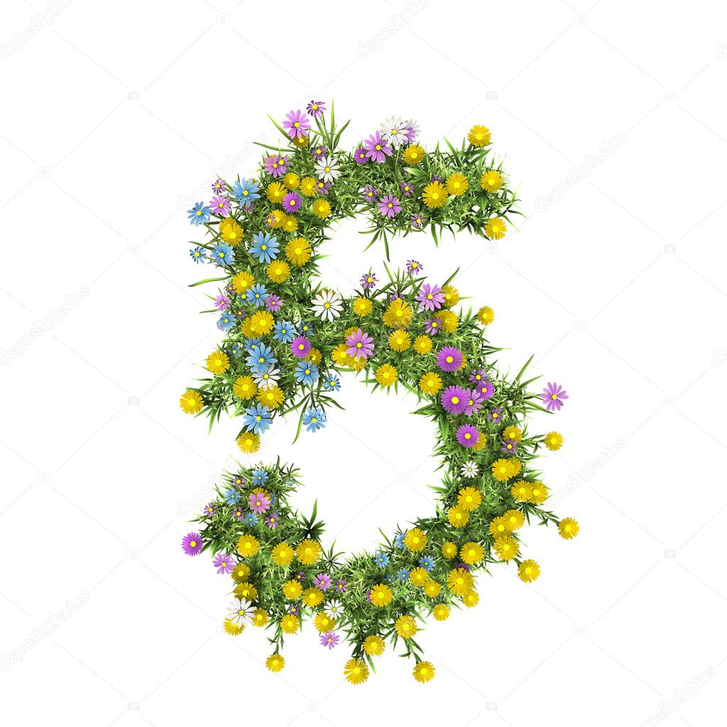 Number 5, flower alphabet isolated on white