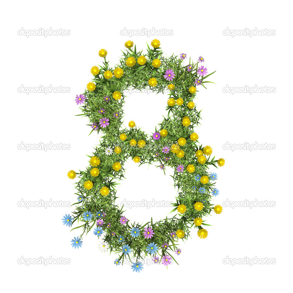 Number 8, flower alphabet isolated on white