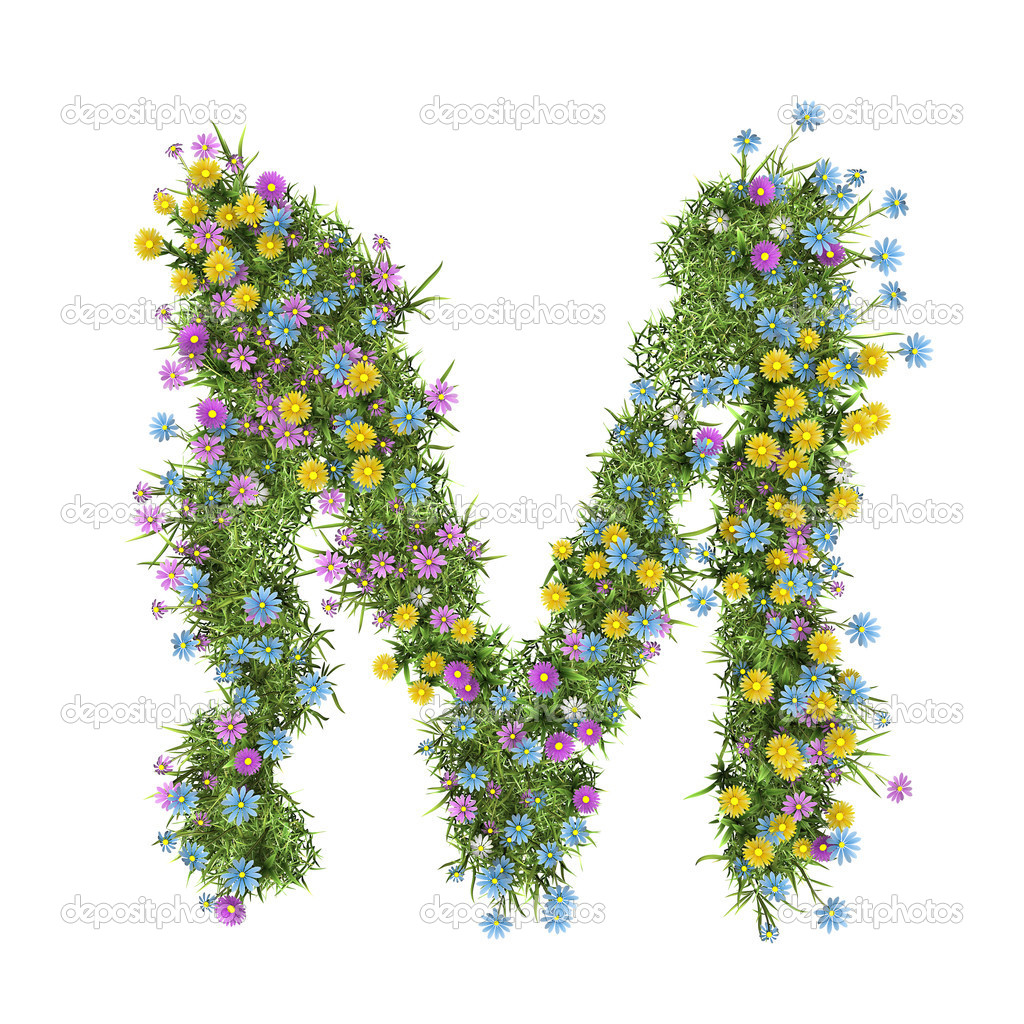 Letter M, flower alphabet isolated on white