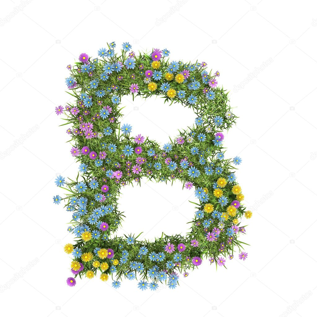Letter B, flower alphabet isolated on white