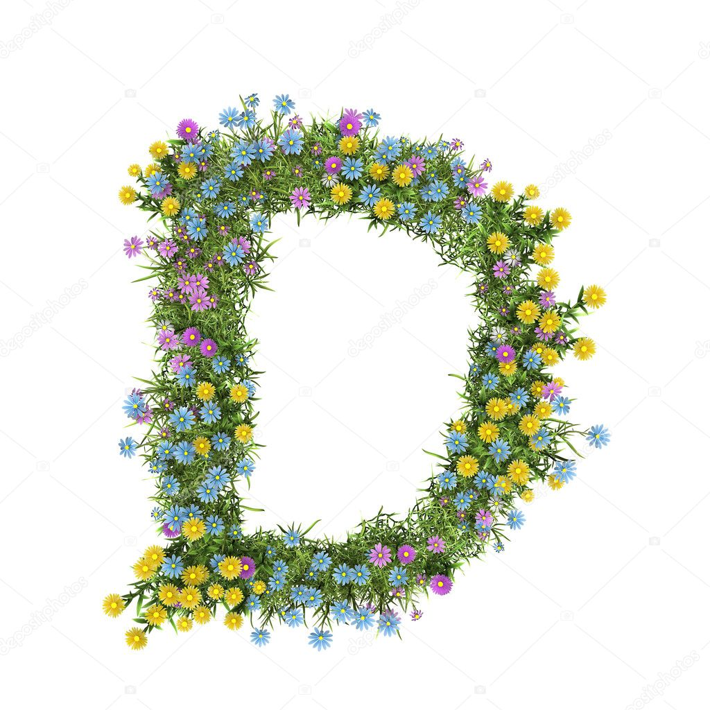 Letter D, flower alphabet isolated on white