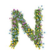 Buchstabe n, Blumenalphabet isoliert auf weiß