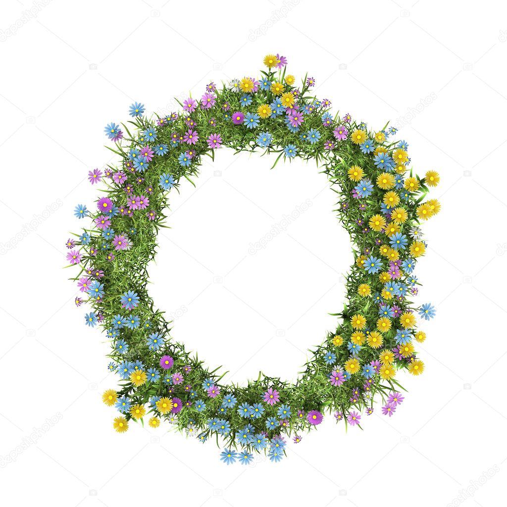Letter O, flower alphabet isolated on white